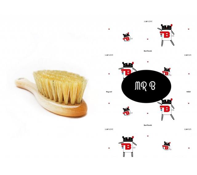 Szczotka z naturalnego włosia + myjka MR.B
