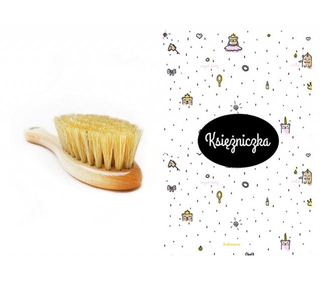 Szczotka z naturalnego włosia + myjka Księżniczka