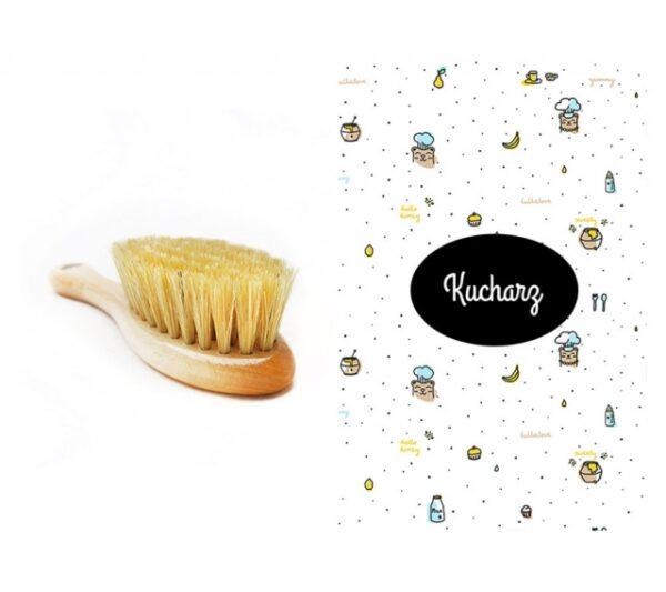 Szczotka z naturalnego włosia + myjka Kucharz