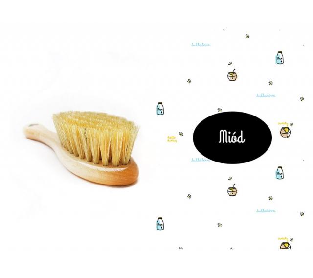 Szczotka z naturalnego włosia + myjka Miód