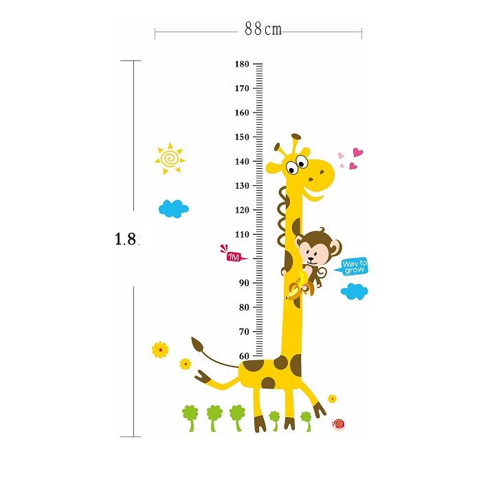 Naklejka ścienna miarka wzrostu Żyrafa