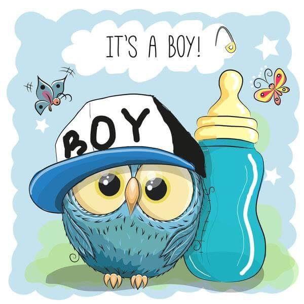 """Kocyk/mata """"It's a Boy"""" Sowa"""