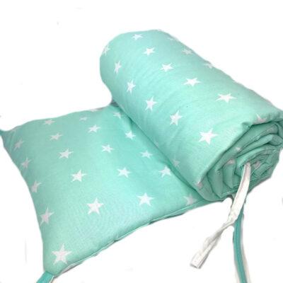 Ochraniacz do łóżeczka Miętowe gwiazdki