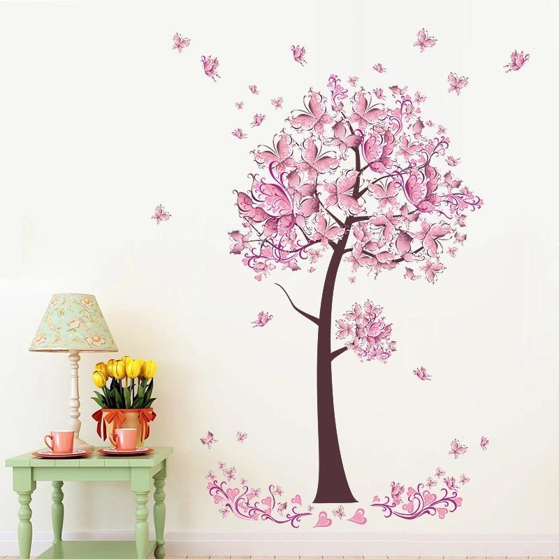 Naklejka ścienna Różowe drzewo