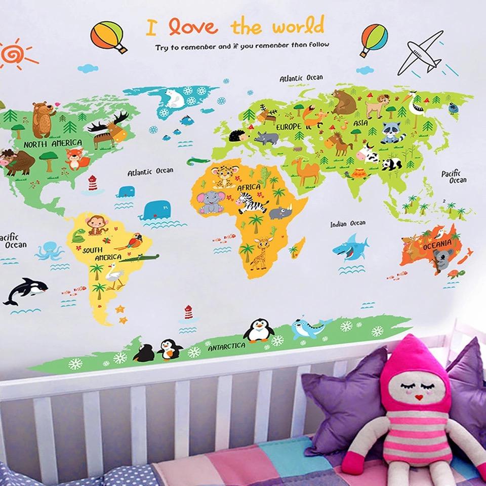Naklejka ścienna Mapa świata XXL