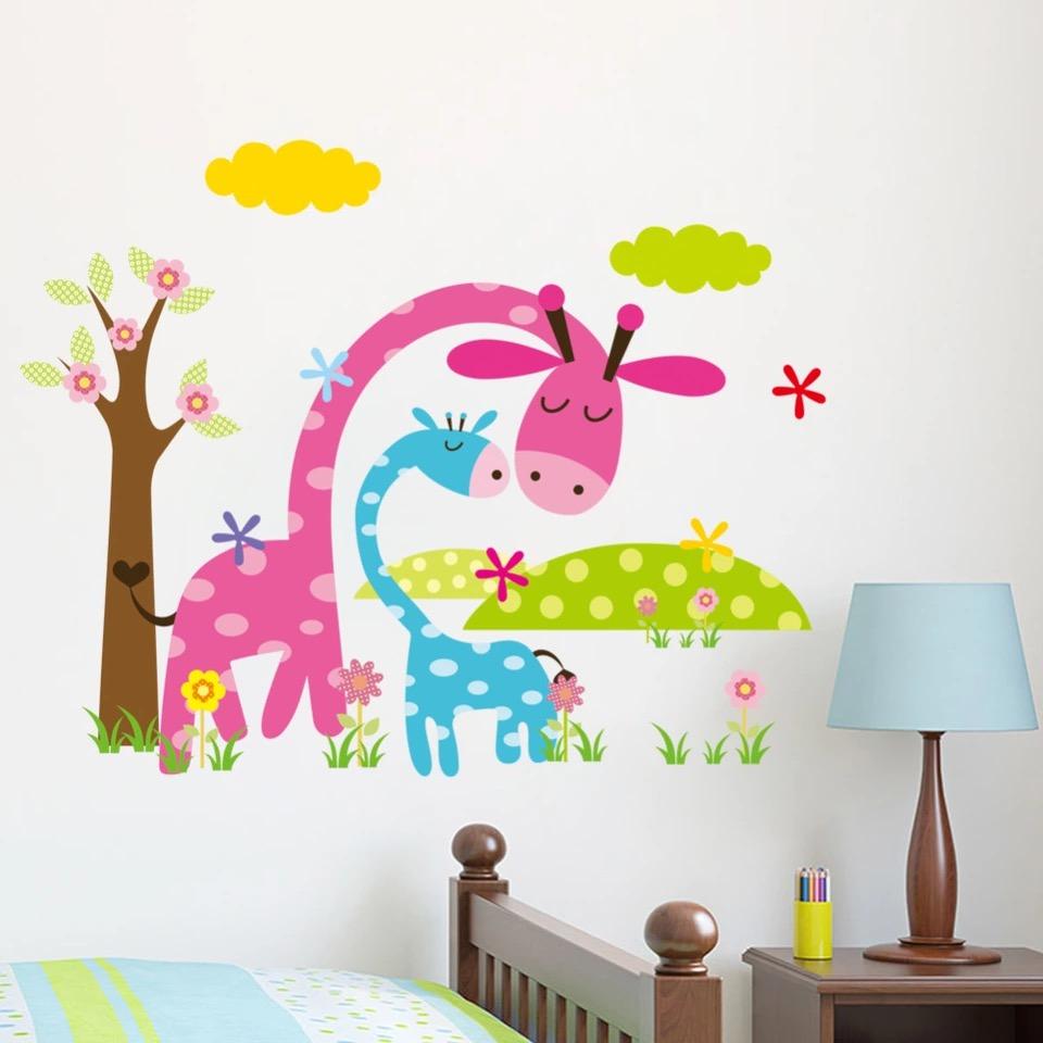 Naklejka ścienna Kolorowe Żyrafy