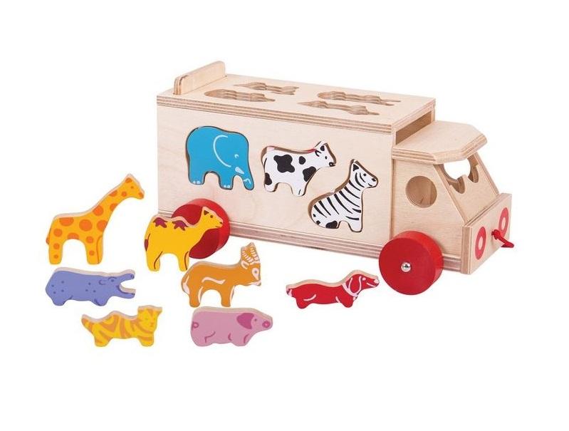 Ciężarówka sorter ze zwierzakami | Bigjigs