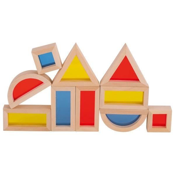 Klocki z kolorowymi okienkami Montessori Goki