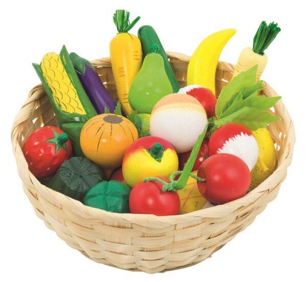Drewniane owoce i warzywa w koszyku Goki 21szt