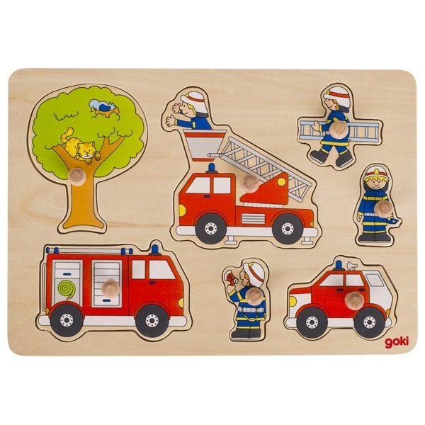 Drewniana układanka z uchwytami Strażacy