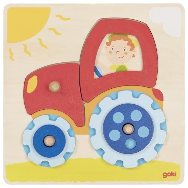 Układanka z traktorem Goki