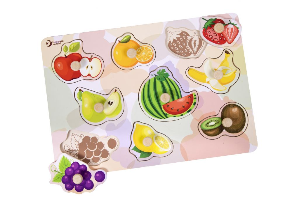 Drewniana układanka z uchwytami Owoce