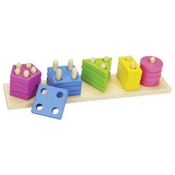 Drewniana układanka kształty i kolory Montessori Goki