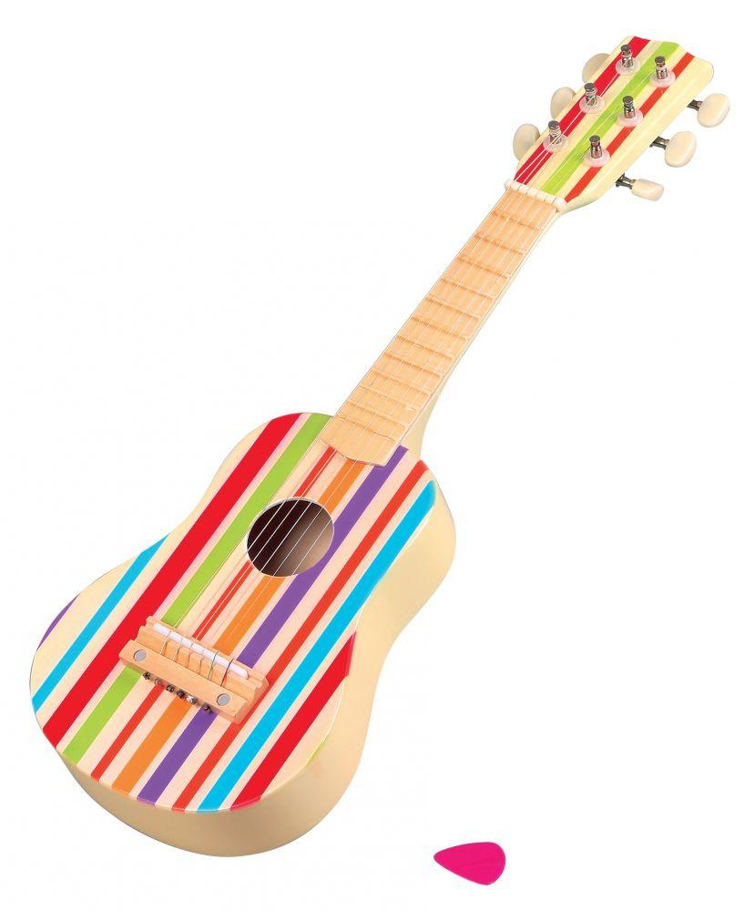 Gitara drewniana tęczowa 6-strunowa