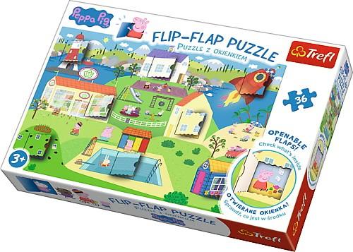 Puzzle 36el z okienkami Świat świnki Peppy