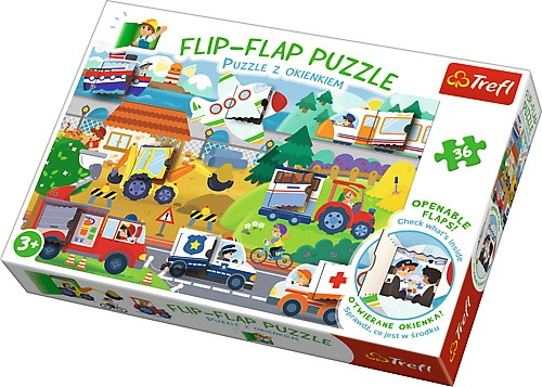 Puzzle 36el z okienkami Pojazdy