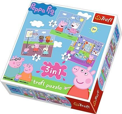 Puzzle 3w1 Świnka Peppa