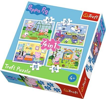 Puzzle 4w1 Świnka Peppa – wspomnienia z wakacji