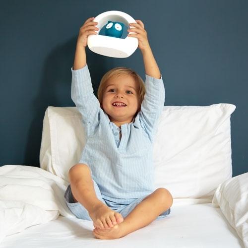 Lampka nocna Sowa niebieska z czujnikiem dźwięku   ZaZu