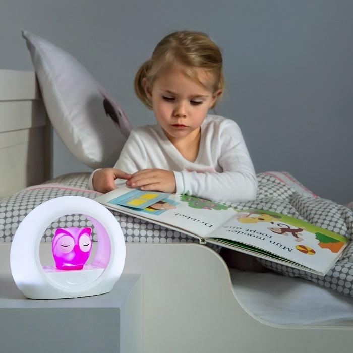 Lampka nocna Sowa różowa z czujnikiem dźwięku | ZaZu
