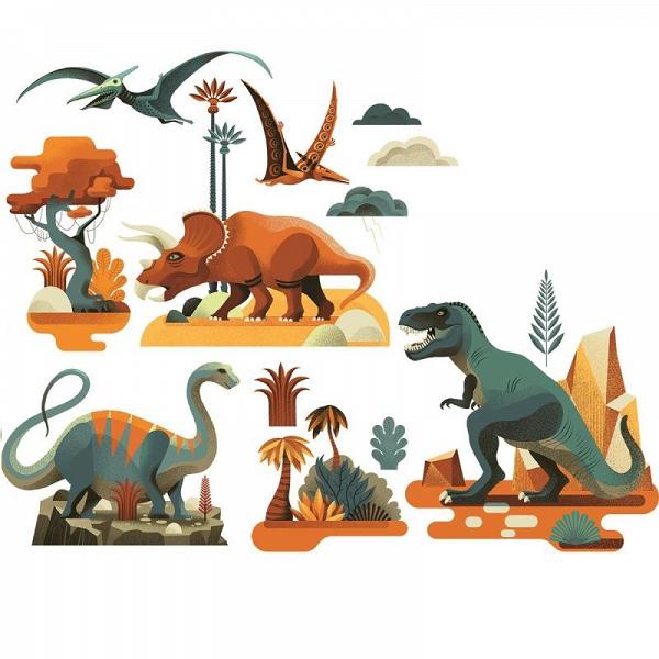 Naklejki na okno wielokrotnego użytku Dinozaury 28szt | Djeco