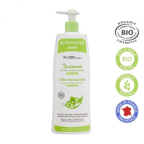 Alphanova Bebe Organiczna oliwka z wodą wapienną do mycia i kąpieli BIO-Liniment, 500 ml