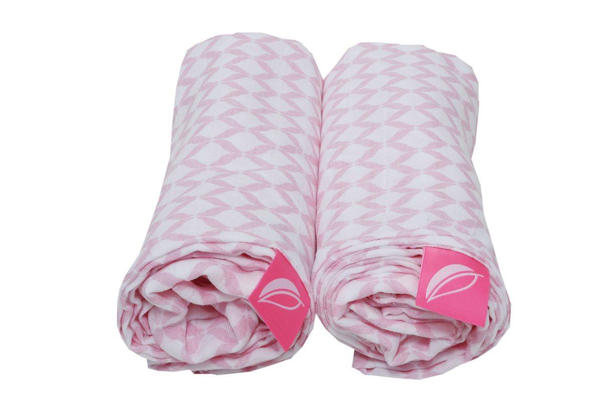 Otulacze muślinowe bawełniane Premium Classci Róż 100x120cm