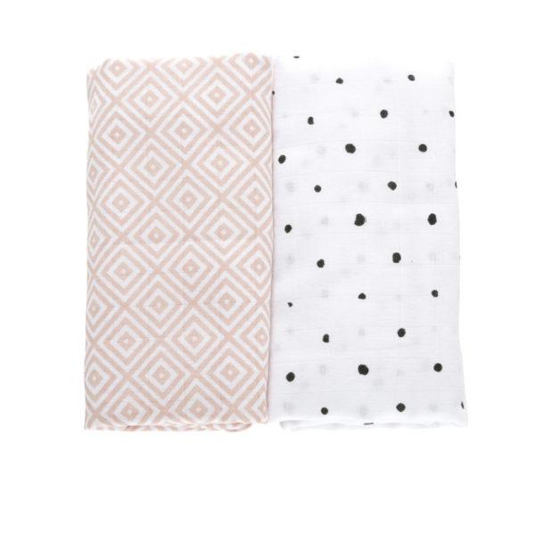 Otulacze muślinowe bawełniane Premium Kwadraty różowe 100x120cm 2szt