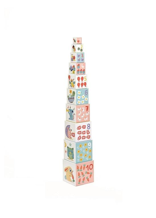 Piramida z kartonowych kostek Pastel | Djeco