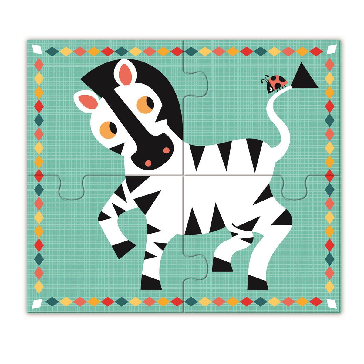 Drewniane puzzle 4 zwierzątka   Djeco