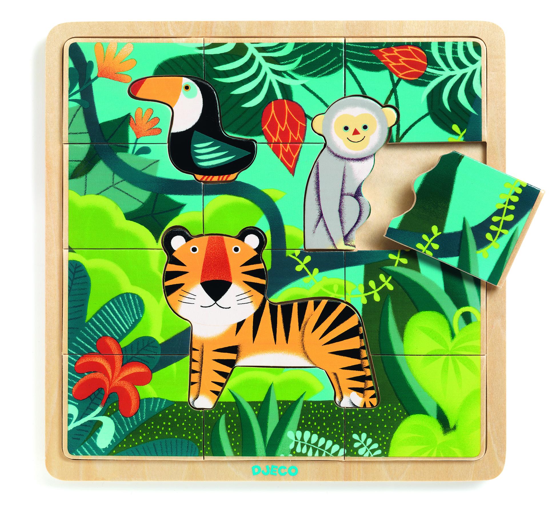 Drewniane puzzle Dżungla |Djeco