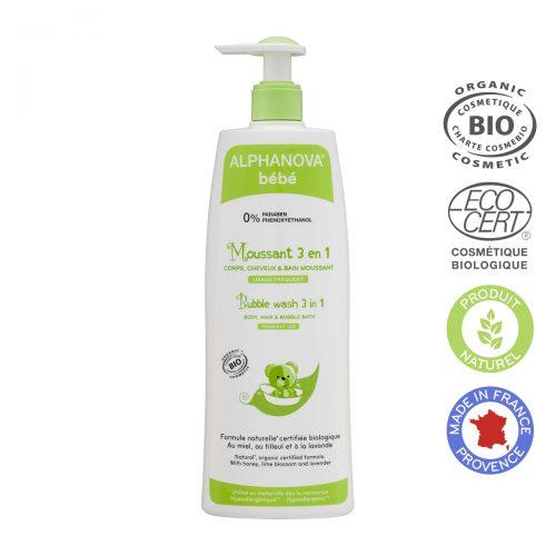 Alphanova Bebe Organiczny Płyn do Kąpieli dla dzieci 3 w 1, 500 ml