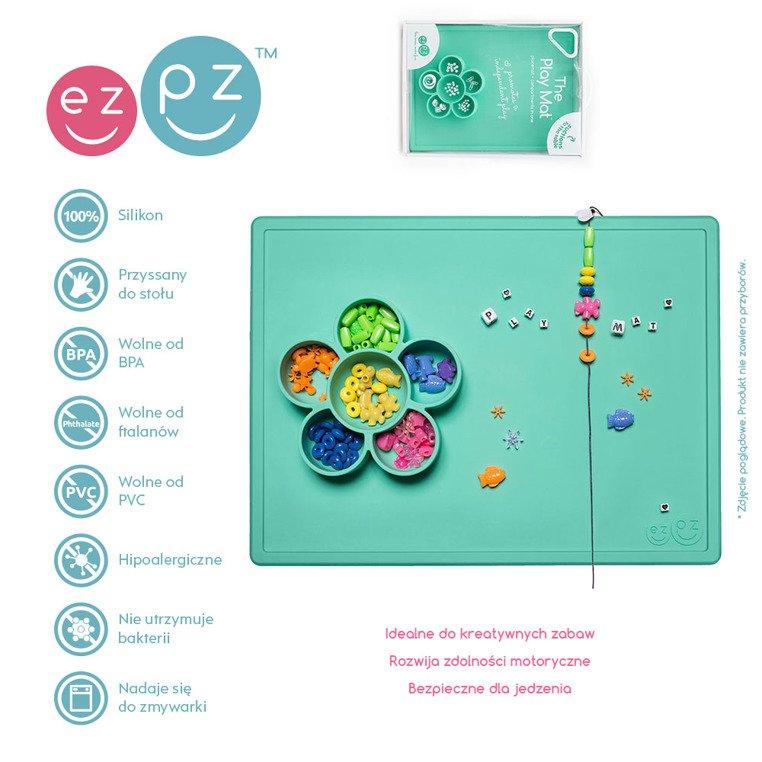 Silikonowa mata do zabawy z pojemniczkami 2w1 miętowa | EZPZ