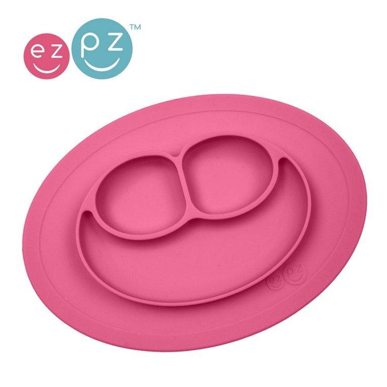 Silikonowy talerzyk z podkładką 2w1 Różowy | EZPZ