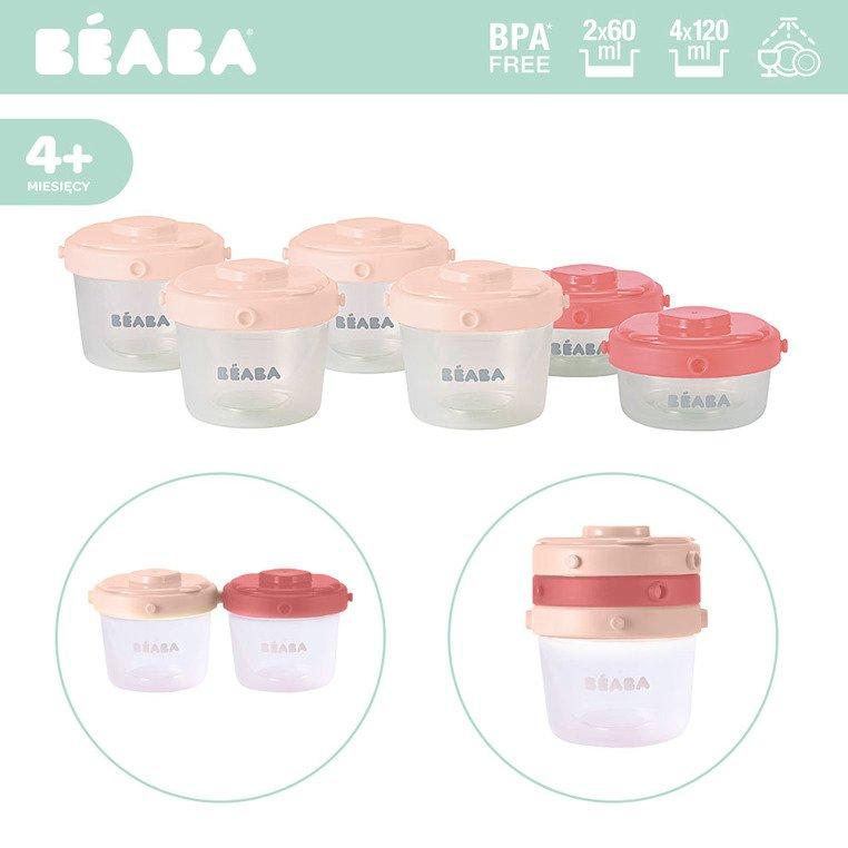 Zestaw słoiczków Clip 6 szt. 60 ml i 120 ml pink | Beaba