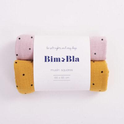 Zestaw pieluszek muślinowych w kropeczki różowo-musztardowy   BimBla