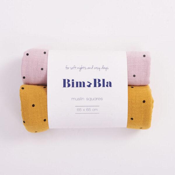 Zestaw pieluszek muślinowych w kropeczki różowo-musztardowy | BimBla