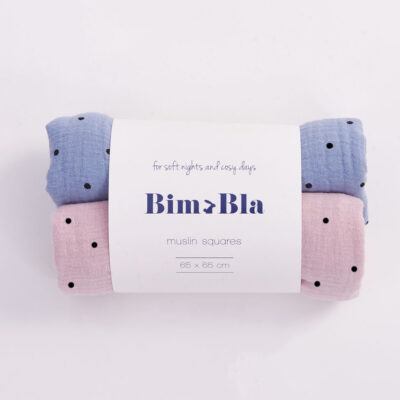 Zestaw pieluszek muślinowych w kropeczki różowo-niebieski   BimBla