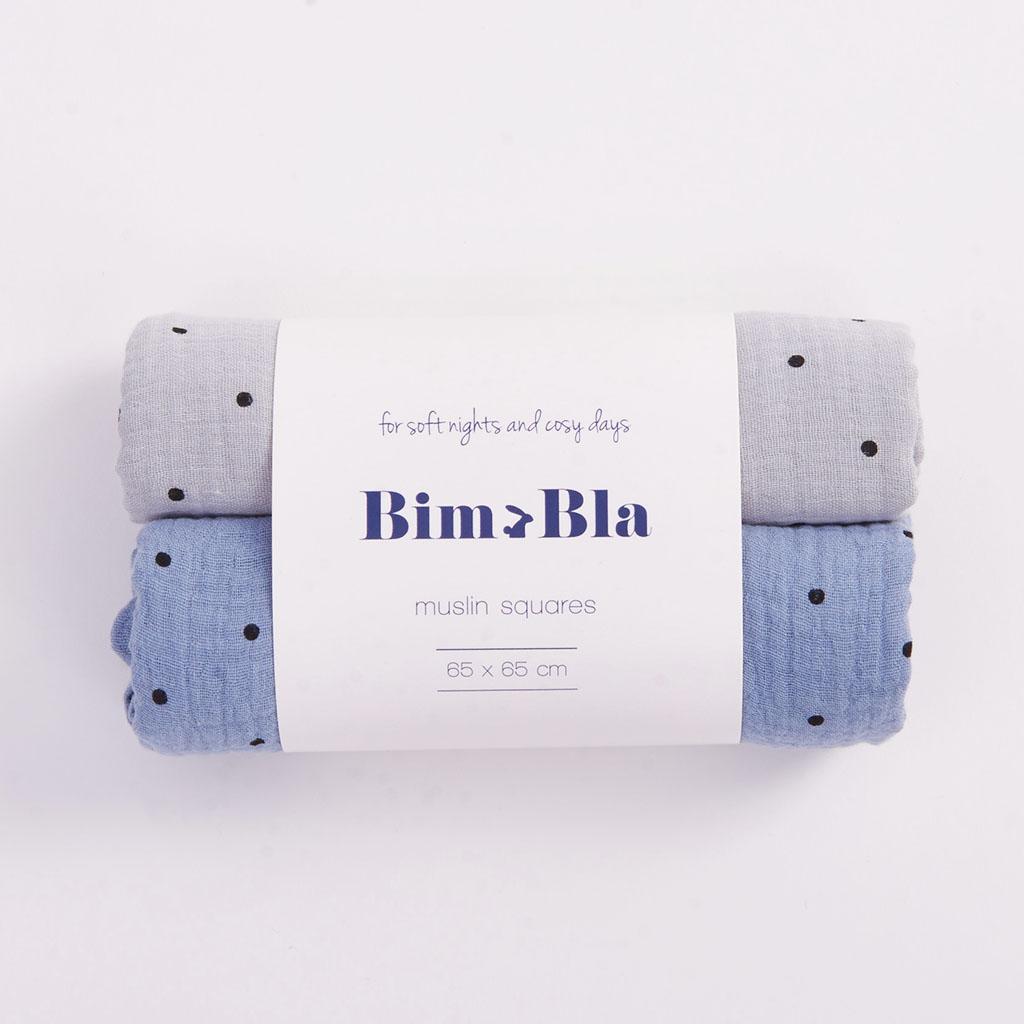 Zestaw pieluszek muślinowych w kropeczki szaro-niebieski | BimBla