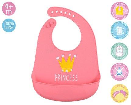Silikonowy śliniak z kieszonką Princess |Kiokids
