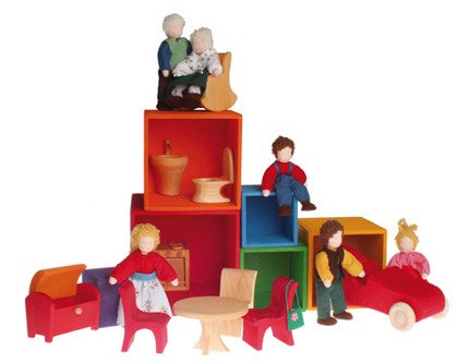Zestaw drewnianych pudełek w intensywnych kolorach | Grimm's