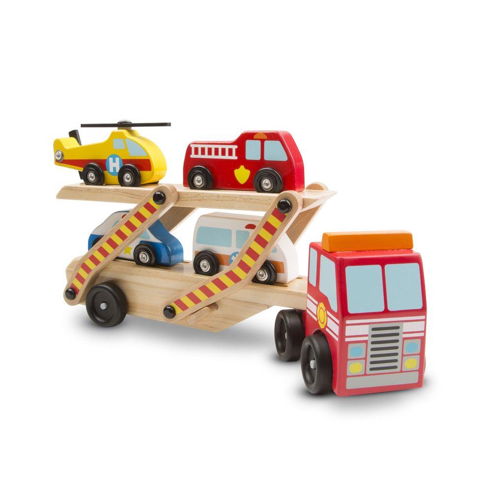 Drewniana ciężarówka z pojazdami ratunkowymi | Melissa&Doug
