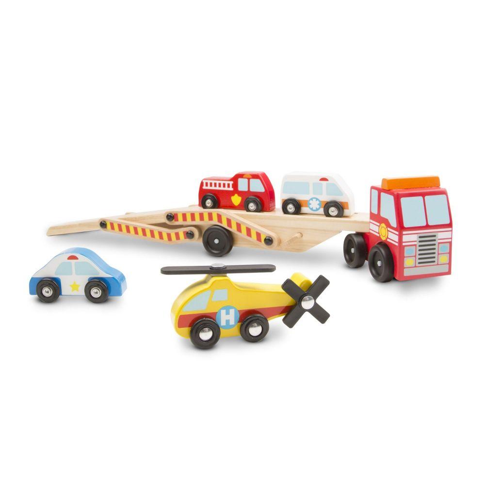 Drewniana ciężarówka z pojazdami ratunkowymi   Melissa&Doug