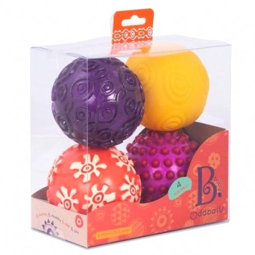 Cztery duże piłki sensoryczne Oddballs | B.Toys