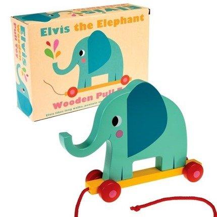 Drewniany słoń do ciągnięcia | Rex London