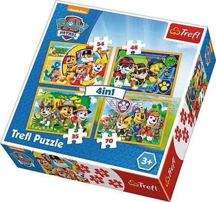 Puzzle Psi Patrol 4w1 zawsze na czas 35/48/54/70 elementów