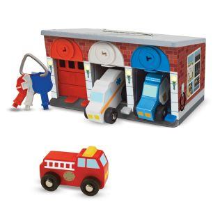 Drewniany garaż z kluczykami i pojazdami ratunkowymi   Melissa&Doug