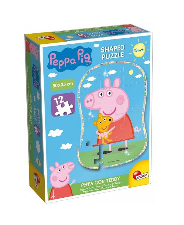 Puzzle Świnka Peppa i teddy XXL 12el | Lisciani