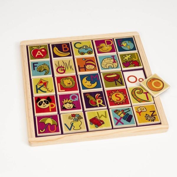 Drewniane magnetyczne puzzle / płytki + tablica | B.Toys