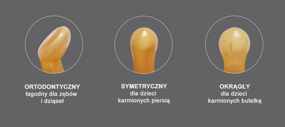 Anatomiczny smoczek kauczukowy, 0-3 msc, Korony Cantaloupe, HEVEA